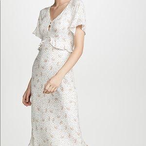 White floral midi dress NWT